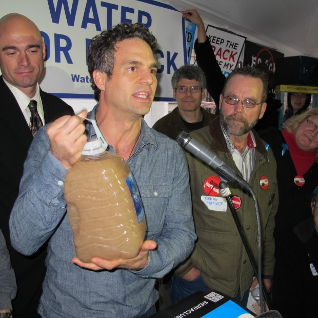 Gas drilling in Dimock has drawn both national and international attention. Here, actor Mark Ruffalo attends a rally in the village after the DEP decided Cabot could end free water deliveries.