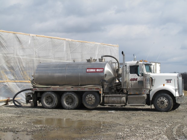 A truck delivers drilling waste water to a frack water recycling plant in Susquehanna County