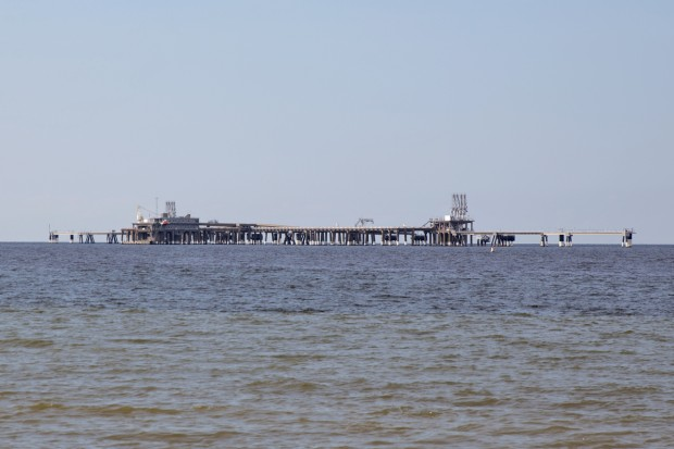 Dominion's offshore loading platform at Cove Point. Lusby, Maryland. Dominion wants to start exporting LNG from this platform.