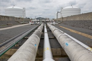 Liquefied natural gas pipes circulate around Dominion's Cove Point, Maryland import terminal into holding tanks.  This facility was recently approved by the Energy Department to export Marcellus shale gas globally.