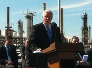 Gov. Tom Corbett speaks at a press conference announcing the deal to keep the Sunoco plant open by shipping in shale oil from North Dakota.
