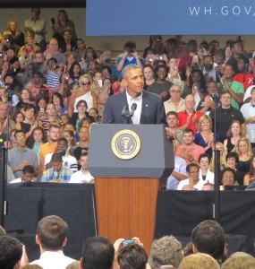 President Obama was in Scranton where activists followed him from Upstate New York to call for a ban on fracking.