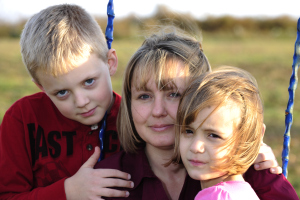 Stephanie Hallowich with her two children. A court order forbids the children from speaking about fracking or Marcellus Shale for the rest of their lives.