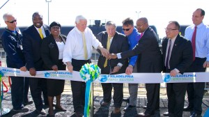 CEO of Philadelphia Energy Solutions Philip Rinaldi, Governor Tom Corbett, Mayor Michael Nutter, and important guest cut the ribbon on a new rail facility at the Philadelphia Energy Solutions refinery in South Philadelphia.