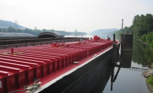 Natural gas drillers want to use double hull enclosed tank barges like this one to ship off fracking wastewater for disposal.