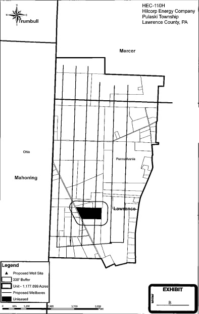 One of Hilcorp Energy Company's proposed Utica Shale drilling units in Lawrence County with an unleased parcel in the middle.