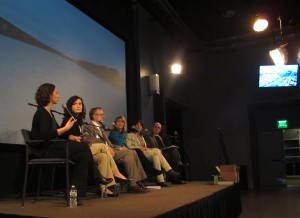StateImpact Pennsylvania Reporters Katie Colaneri and Marie Cusick, left, lead a panel discussion on the health of the Delaware River watershed at WHYY in Philadelphia.