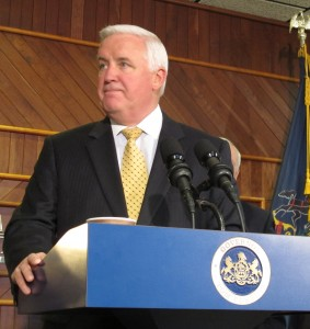 Gov. Corbett promoting the Marcellus Shale earlier this year in Williamsport.