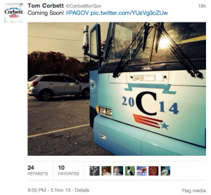 A screenshot of a Corbett campaign tweet showing the campaign bus which does not run on compressed natural gas.