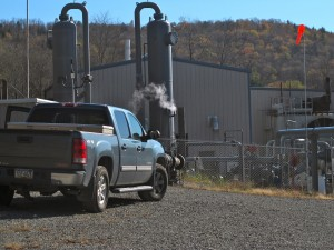 A compressor station pumps natural gas into the Tennessee Pipeline in Dimock, Pa.