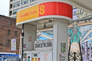 A Shell station at 12th and Vine Streets in Philadelphia offers gasoline mixed with corn-based ethanol and features a mural paying homage to corn.