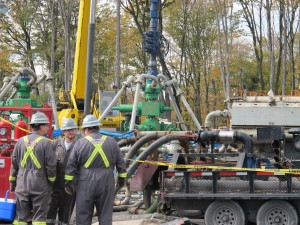 Workers at a hydraulic fracturing site in Susquehanna County.
