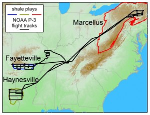 A NOAA research plane flew over the Marcellus, Haynesville and Fayetteville shale plays in June and July 2013 to measure methane emissions related to natural gas extraction.