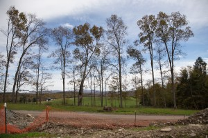 Farmland and trees surround a Cabot Oil & Gas fracking site in Harford Township, Pa.