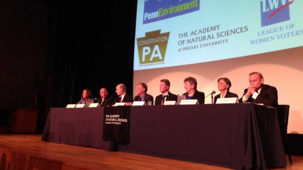 Eight Democratic Pa. gubernatorial candidates are shown at a debate focused on environmental sustainability held at the Academy of Natural Sciences of Drexel University in Philadelphia. They disagreed on little but tried to distinguish themselves based on electability and personal style.