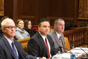 DEP Secretary Chris Abruzzo (center) with with deputy secretaries Jeff Logan (Ieft) and   Dana Aunkst (right) at the department's senate budget hearing in Harrisburg.