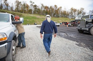 Larry Fulmer, Cabot Oil & Gas frack superintendent in the the northeast region walks the perimeter of a fracking operation in Susquehanna County, Pa.