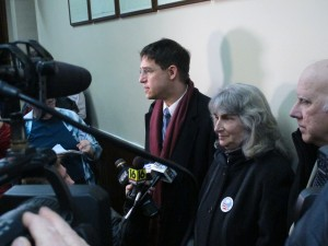 Anti-fracking activist Vera Scroggins, center, and her attorney Scott Michelman, left, speak to the media after a hearing in Montrose, Pa. Last fall, a judge signed off on an order barring Scroggins from more than 300 square miles of Susquehanna County or all the land owned or leased by Cabot Oil and Gas.