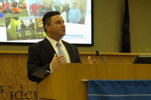State Department of Environmental Protection Secretary Chris Abruzzo speaking at Widener Law.