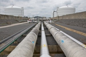 Pipes carrying liquefied natural gas circulate around the terminal into holding tanks.