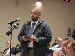 West Goshen resident Azim Siddiqui speaks at a forum about a proposed pump station for Sunoco Logistics' Mariner East pipeline.