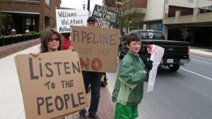 Protesters opposing the pipeline stood outside the Lancaster County Commissioners meeting  Tuesday.