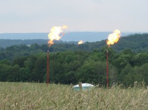 Marcellus Shale wells flare in Tioga County. When a test well is drilled and there are no pipelines to carry the gas, the gas is burned.
