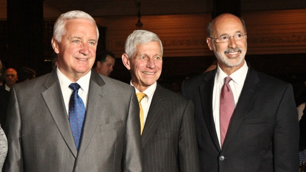 Governor Tom Corbett (left) and Democratic Candidate for Governor, Tom Wolf (right) both made remarks at the Pennsylvania Environmental Council (PEC) presentation of the Windsor award to Senator Edwin Erickson (center).