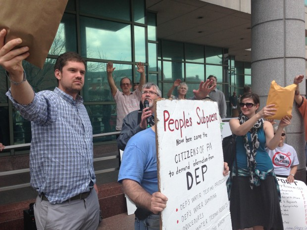 Protesters outside the DEP's Harrisburg headquarters in April 2013.