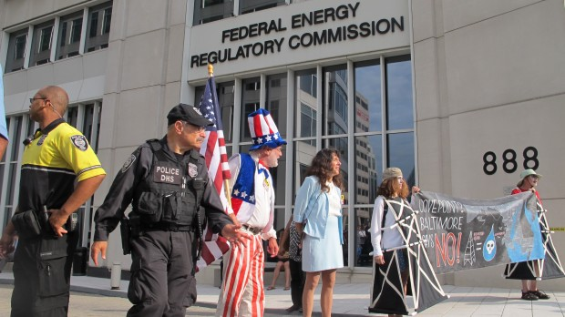 Twenty-four protesters were arrested for blocking a public passageway outside the Washington D.C. headquarters of the Federal Energy Regulatory Commission.