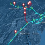 The red lines show the proposed Atlantic Sunrise expansion. The light blue lines are the existing Transco system.