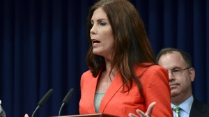 In this 2014 file photo, Attorney General Kathleen Kane speaks during a news conference at the Capitol in Harrisburg, Pa