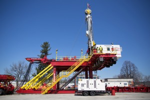 The Schramm T500XD is a self-erecting drill rig and can move from well pad to well pad.