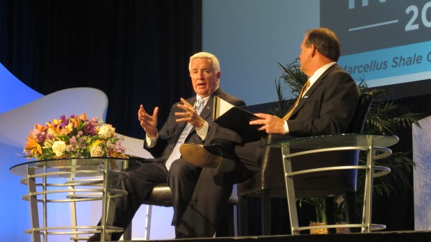 Governor Corbett speaking Thursday to Marcellus Shale Coalition President David Spigelmyer at the industry group's annual Shale Insight conference in Pittsburgh.