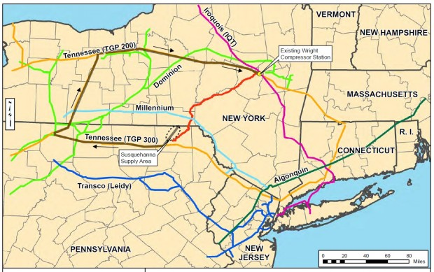 The dotted black circle shows the gas supply area in Susquehanna County. The red line is the proposed path of the Constitution Pipeline.