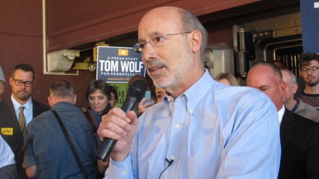 Democratic gubernatorial candidate Tom Wolf at a campaign stop in Harrisburg.