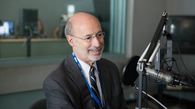 Democrat Tom Wolf talks to reporters at the WHYY studio in Philadelphia.