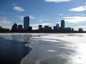 An icy view of Boston. New England electric rates are projected to spike by 30 to 50 percent this winter.
