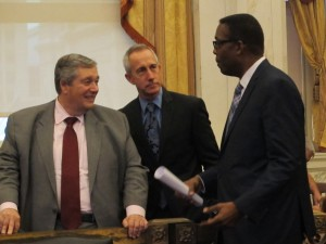 Philadelphia Energy Solutions CEO Phil Rinaldi, PGW CEO Craig White and City Council President Darrell Clarke share a moment before today's hearings on the future of Philadelphia as an energy hub.
