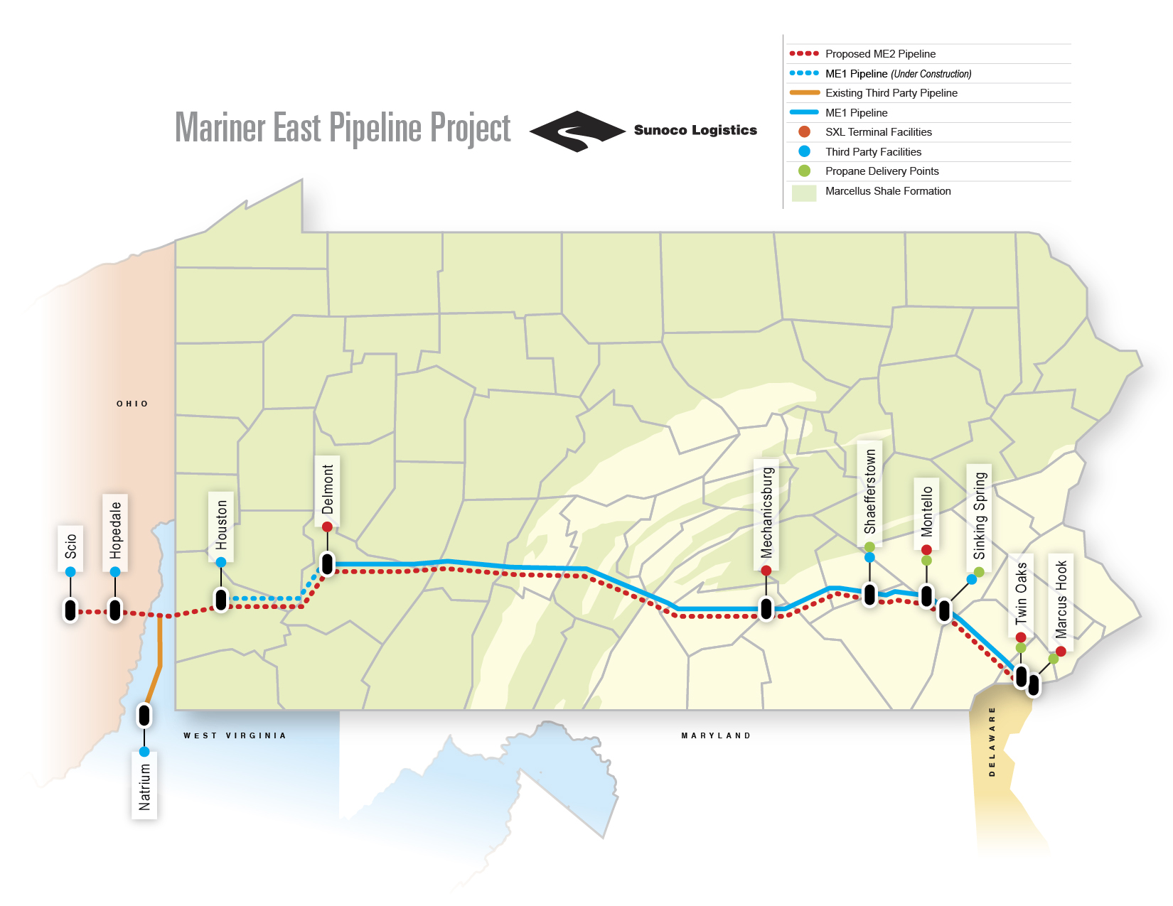 Sunoco logistics announces second bigger natural gas liquids the mariner east 2 pipeline will run parallel to its predecessor the mariner east 1 sciox Choice Image
