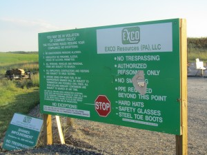 A sign warns against trespassing on a fracking wastewater impoundment in Bradford County.