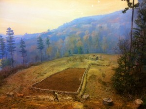 A photo of a diorama at the Harvard Forest showing land use by European settlers.
