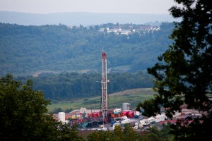 Civil-liberties campaigners say a lawsuit against opponents of gas rigs like this one in southwest Pennsylvania is a violation of free-speech rights.