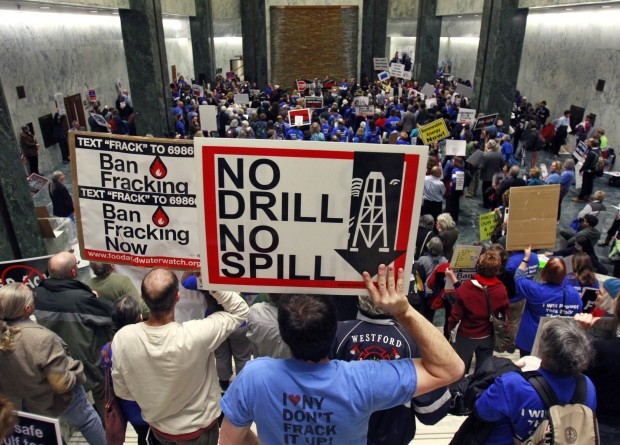 Fracking opponents at a 2012 rally in New York's Legislative Office Building in Albany.