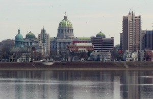 The Susquehanna River flowing past the state Capitol building in Harrisburg.