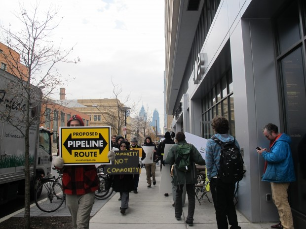 On December 5, 2014, protestors marched outside Drexel University's Creese Student Center where business leaders met to discuss plans for expanding Philadelphia's role in the Marcellus Shale natural gas boom.