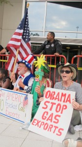Protesters linked arms and blocked entrances to the Federal Energy Regulatory Commission headquarters in Washington D.C. last summer. Twenty-four people were arrested.
