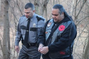 Chief Carlos Rivera of the North Arawak Tribal Nation is arrested protesting the Atlantic Sunrise pipeline in Conestoga, Pa.