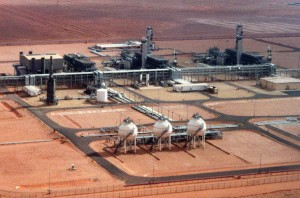 One of the high-tech natural gas plants at the Algerian showpiece at Tin Fouye Tabankort simmers in the Saharan desert sun, Friday August 11, 2000. Algeria's exports of natural gas gives it real economic clout