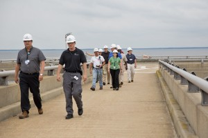 Dominion employees and future leaders tour the offshore loading pier at Cove Point.